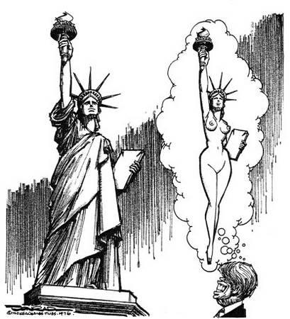 自由女神像简笔画;; 保罗·康拉德笔下的尼克松