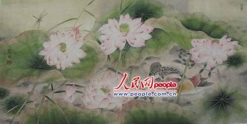 荷花鸳鸯图; 工笔画鸳鸯; 詹黎明工笔画鸟赏析
