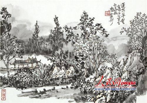 论者说他能立足于传统文化基础,追求墨气淋漓,表现出大西北一种冷寂