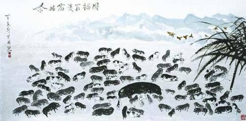 凤凰羽毛黑白手绘图