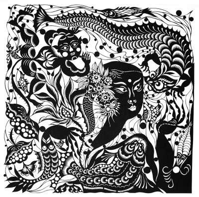 动物黑白刻画图片