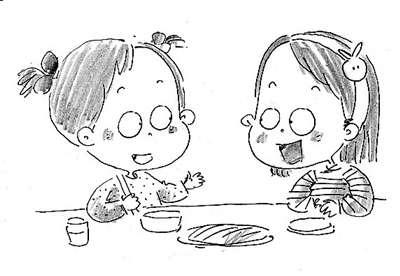 小朋友吃饭步骤简笔画